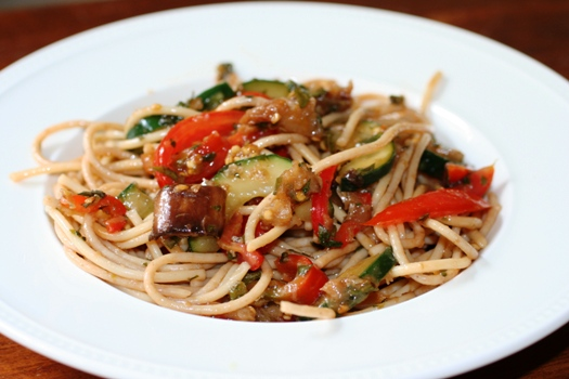 Thai Eggplant and Tomato Pasta Salad