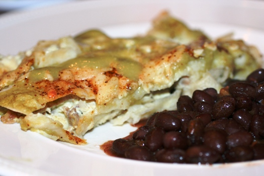 Cream-Cheese-Chicken-Enchiladas-Beans
