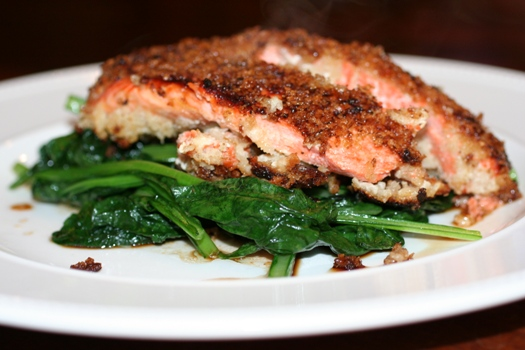 Panko Crusted Salmon over Greens - Faithful Provisions