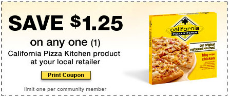 California Pizza Kitchen Coupon By Liking Them On The California