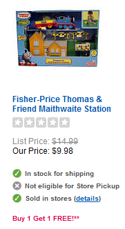 Thomas the Train B1G1 Free Sale at Toys R Us