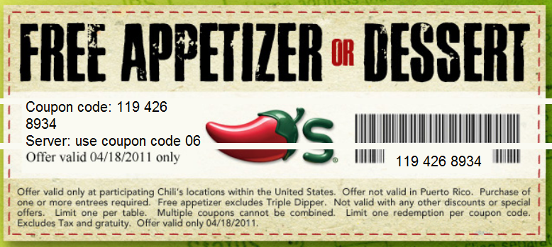 Free Appetizer or Dessert at Chili's on Tax Day