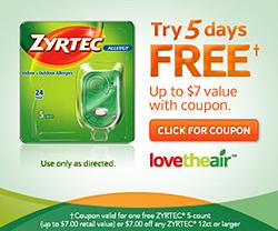 Free 5 count zyrtec