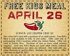 Kids Eat Free at Chili's on April 26