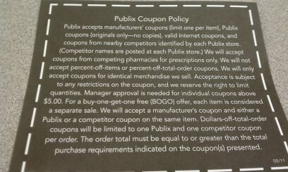 Official copy of the Publix Coupon Policy