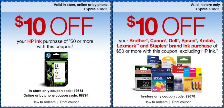 Staples Ink Coupons