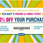Old Navy's Friend's & Family Event Extended