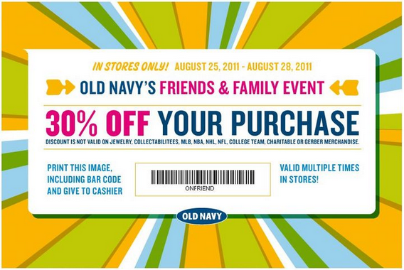 Old Navy Friends And Family 50