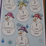 Snowman File Folder Game for Early Readers