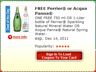 Shopping Tips for Perrier: 1. Perrier sells water in packages of four count bottles. Use a $ off four-pack coupon with a $ off pack coupon when you're shopping for this item. When you find it on sale, stack it with the coupons and stock up! 2. Grab a $1 off 3 Liters of Perrier Sparkling Mineral Water coupon when it's available!