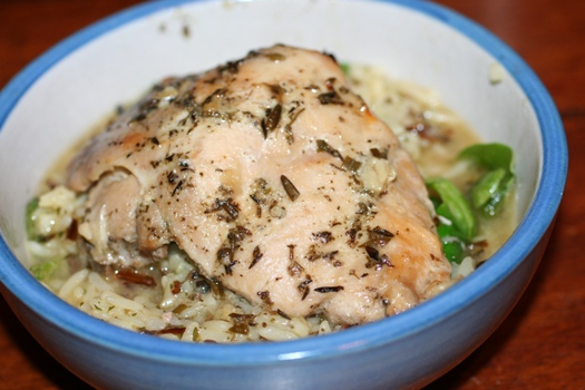 Herbed Chicken, Rice and Spinach Bowl-blue -