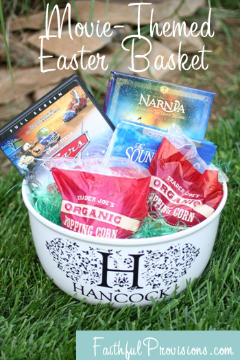 How to make easter baskets easier try a movie themed easter basket easter basket ideas for adults movie theme negle Image collections