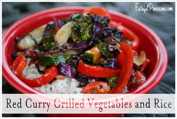 Red Curry Grilled Vegetables over Rice