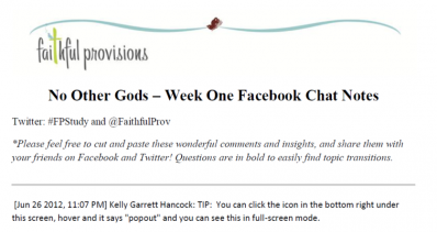 No Other Gods Facebook Chat Notes Week One