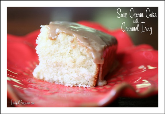 A sour cream based cake with a creamy caramel confection icing.