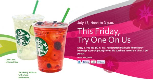 Free Tall Starbucks Refreshers Beverage