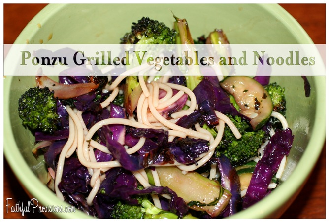 Grilled Vegetables Over Noodles with Ponzu Sauce