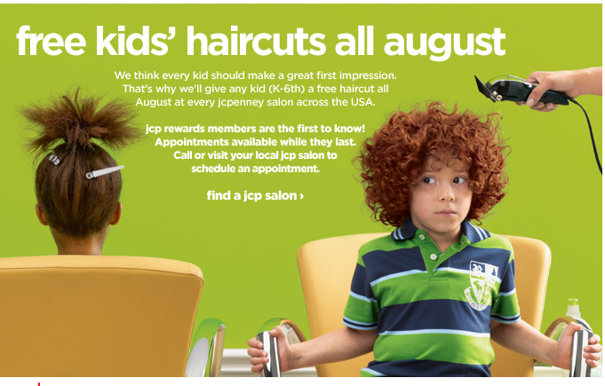 Free Haircuts at JC Penney in August