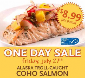 One Day Sale on Salmon at Whole Foods Market
