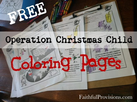 Free Coloring Pages for Christmas Shoeboxes for Kids