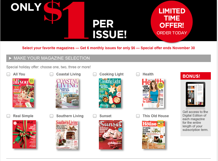 Black Friday Magazine Sale