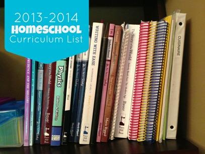 2013-2014 Homeschool Curriculum List