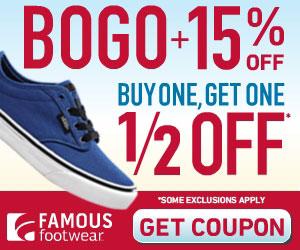 Famous Footwear: Buy One, Get One Half