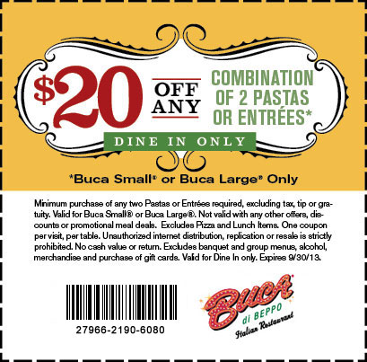 Buca Di Beppo Coupon 20 Off Any Two Entrees Faithful Provisions