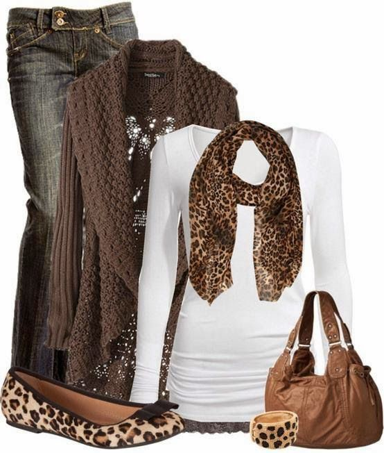 Leopard print scarf outfit for fall