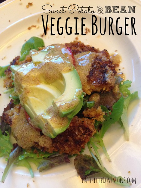 Sweet Potato & Bean Veggie Burger by Faithful Provisions