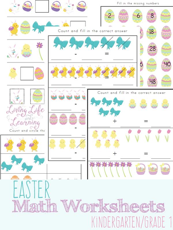 Math Worksheets printable math worksheets kindergarten : Free Printable Easter-Themed Math Worksheets - Faithful Provisions