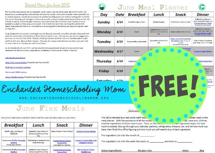 Free June Meal Planner
