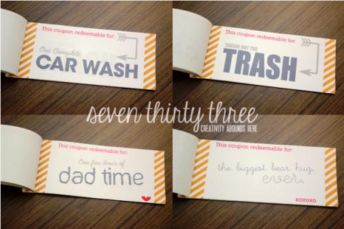 Fathers Day Printable Coupon Book