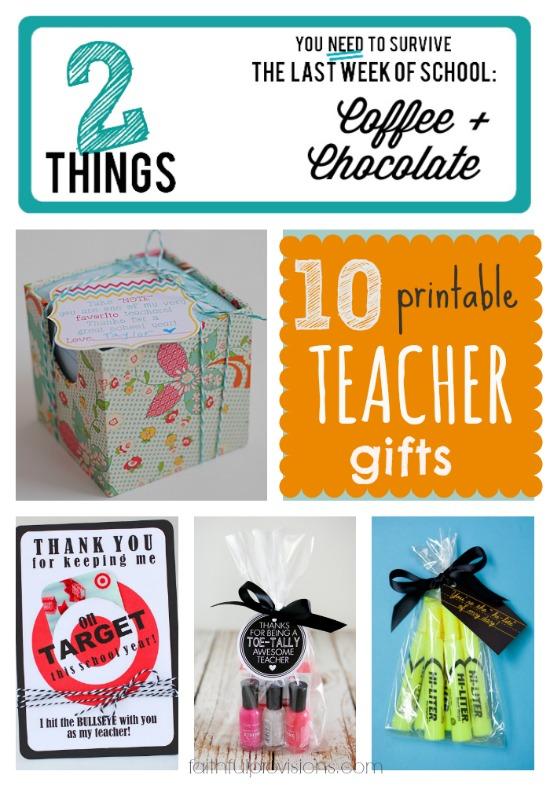 Printable Teacher Gifts