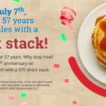 IHOP:  Short Stack Pancakes for $.57
