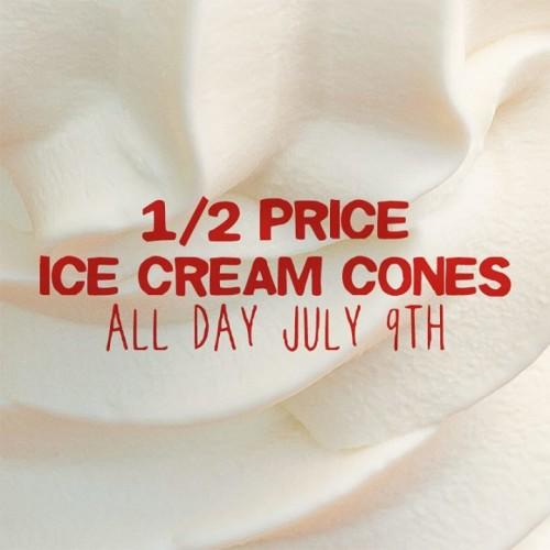 Sonic Half Price ICe Cream Cones