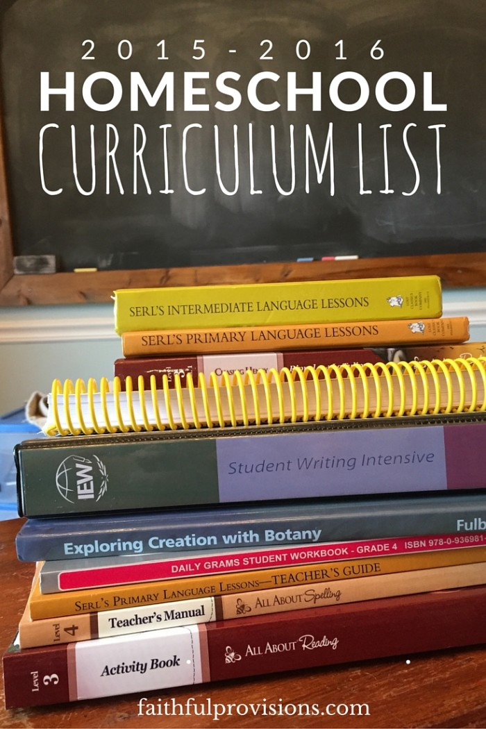 2015-2016 homeschool curriculum list