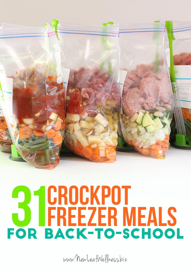31 Crockpot Freezer Meals for Back to School + More Helpful Back to School Links!
