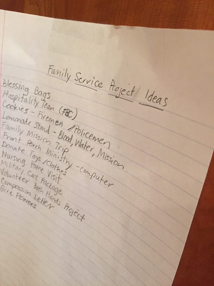 Service Project List