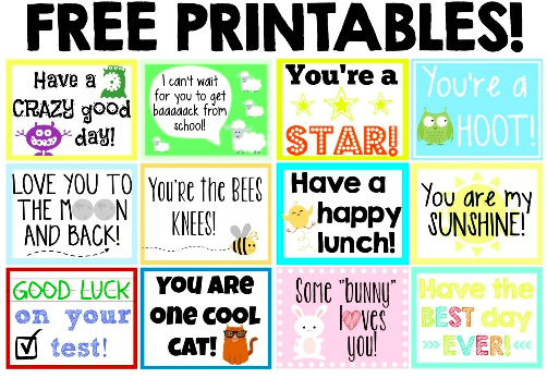 School Lunch Notes Printable