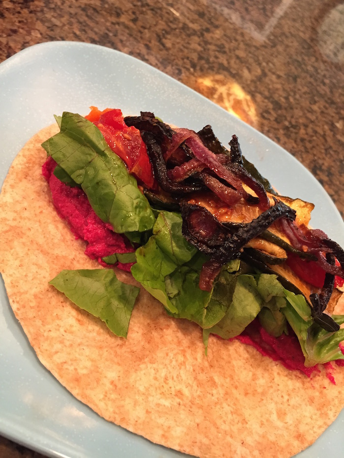 Roasted Beet Hummus Wrap