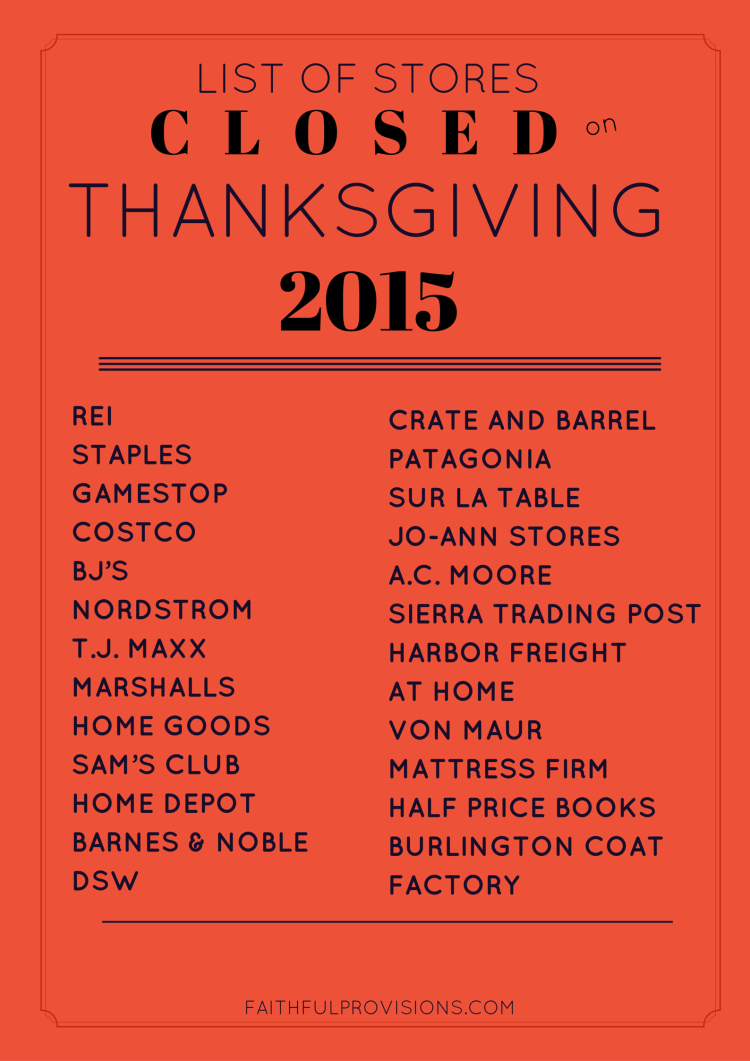List of Stores Closed on Thanksgiving 2015