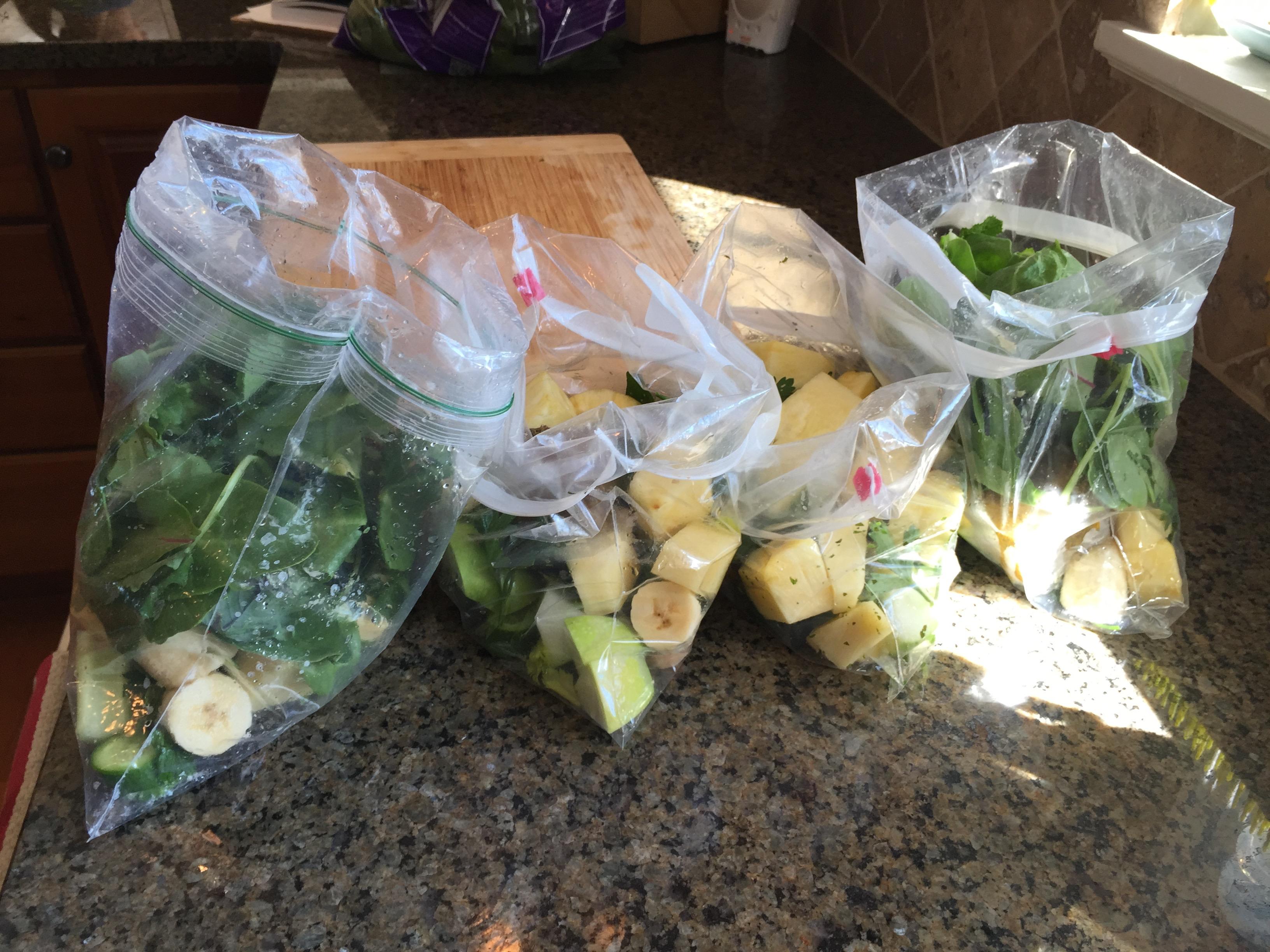 green smoothie freezer packs