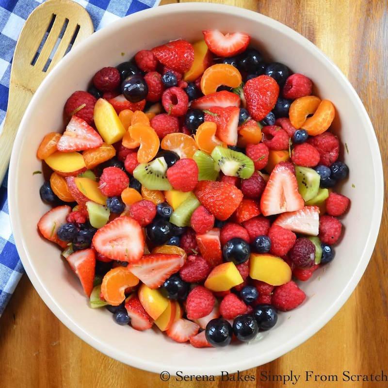 Summer Berry Fruit Salad with Honey Lime Glaze