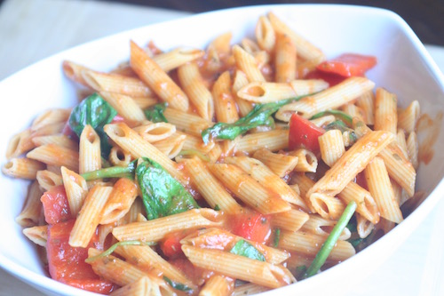 One Pan Vegetable Penne Pasta Close up