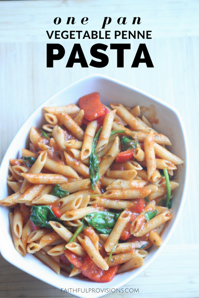 One Pan Vegetable Penne Pasta - Perfect for an easy, back-to-school meal!