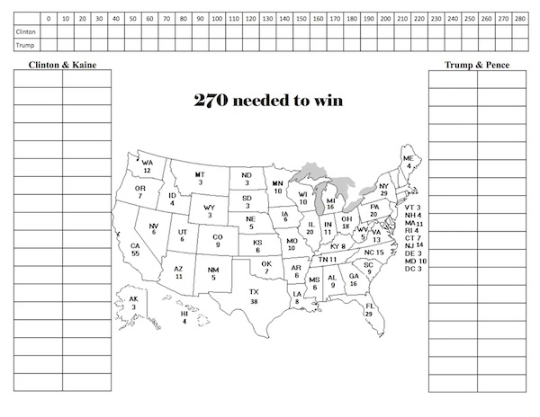 2016 Printable Electoral College Map FillIn Version By State – Electoral College Worksheet